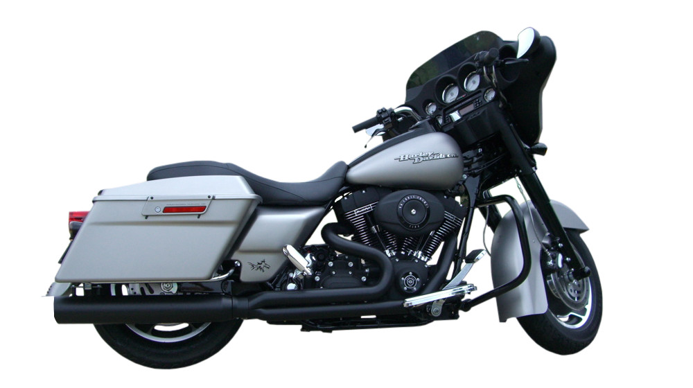 Black Fat Cat 2:1 Full Exhaust & Ghost Pipe Straight Cut Louvered Baffle -  07-08 HD Touring