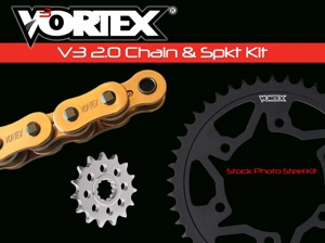 V3 Chain & Sprocket Kit Gold Chain 520 15/45 Black Steel - For 16-18 Kawasaki 650 Versys LT