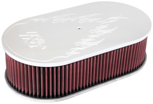 "Custom Air Filter Assembly - Large Oval Flame Design 4""H"