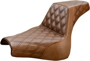 Step-Up Full Diamond 2-Up Seat Brown - For 18-20 Harley FXFB/S
