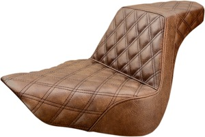 Step-Up Lattice Stitched 2-Up Seat Brown - For 18-20 Harley FLFB/S