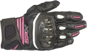 Women's SPX Air Carbon V2 Motorcycle Gloves Black/Fuchsia Large