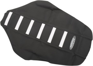 6-Rib Water Resistant Seat Cover Black/White - For 14-18 Kawasaki KX100 KX85