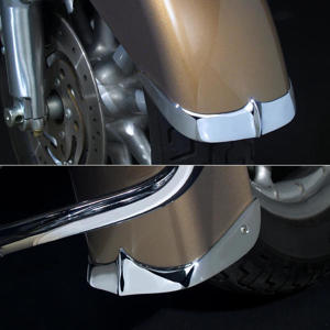 Chrome Cast Fender Tip; Front 2-Piece Set