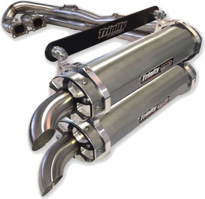 Brushed Dual Full Exhaust - For 14-18 Polaris RZR XP 1000