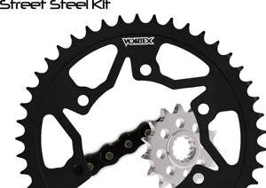 V3 Chain & Sprocket Kit Black SX Chain 520 14/41 Black Steel - For 13-18 Honda CBR500R