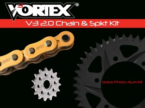 V3 Chain & Sprocket Kit Gold Chain 530 17/42 Hardcoat Aluminum - For 01-06 Suzuki GSX-R1000