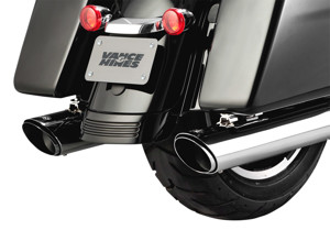 Twin Slash Round Chrome Dual Slip On Exhaust - Harley Touring M8