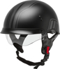 HH-65 Full Dressed Twin Half Helmet Black/Silver X-Large