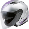 OF-77 Open-Face Eternal Motorcycle Helmet Silver/Violet Small