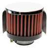 "Engine Breather Filter - PCV; 1-3/8""ID FLG, 3""OD CHROME TOP W/SHIELD"