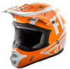 Kinetic Burnish Motorcycle Helmet Orange/White/Grey Youth Large